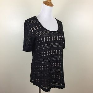 NWT WOLVEN Anthropologie Sheer Lace Lined Shirt